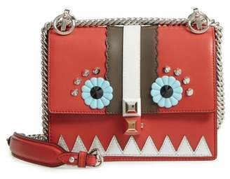 Fendi Mini Kan I Faces Leather Shoulder Bag