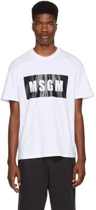 MSGM White Panel Logo T-Shirt