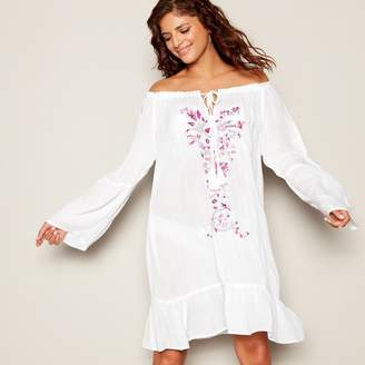 Floozie by Frost French White Floral Embroidered Round Neck Long Sleeve Knee Length Kaftan