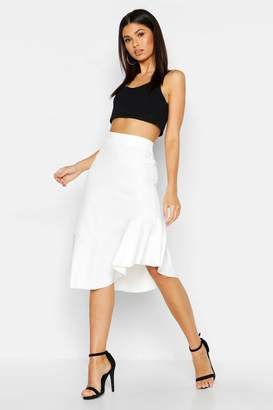 boohoo Woven Ruffle Midi Skirt