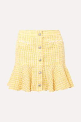 Veronica Beard Ruffled Checked Bouclé-tweed Mini Skirt - Yellow