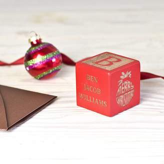 Keepsake Natural Gift Store Personalized Christmas Red Block