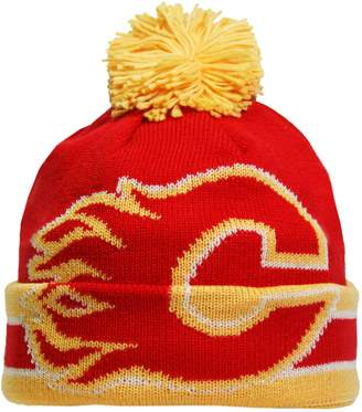 Reebok CCM Oversized Logo Cuffed Pom Knit Toque - Calgary Flames