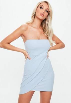 Missguided Stretch Crepe Bandeau Wrap Bodycon Dress
