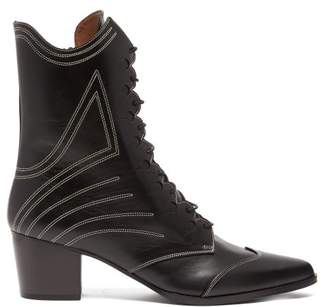 Tabitha Simmons Swing Lace Up Leather Boots - Womens - Black