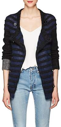 Barneys New York Women's Striped Mohair-Blend Double-Breasted Cardigan - Dark Gray
