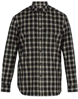 Givenchy Checked Wool Blend Shirt - Mens - Black White