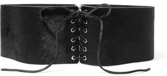 Frame Lace-up Calf Hair Belt - Black