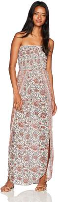 Angie Women's Smocked Printed Strapless Wrap Flyaway Maxi Dress