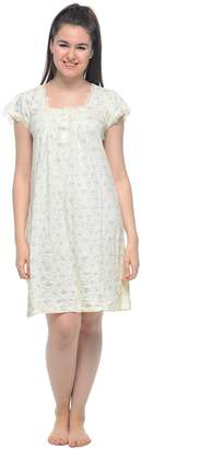Casual Nights Women's Cotton Floral Lace Short Sleeves Nightgown