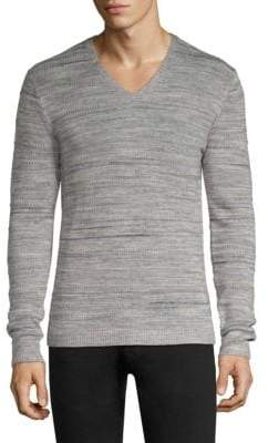 John Varvatos Intarsia Tuck Stitch V-Neck Sweater