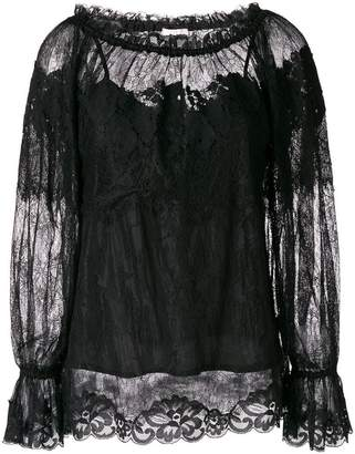 Gold Hawk longsleeved lace blouse