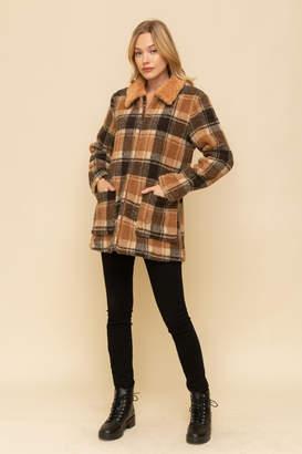 Hem & Thread Midi Fur Collar Jacket