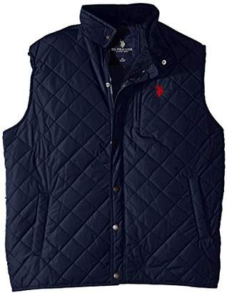 U.S. Polo Assn. Men's Big-Tall Diamond Quilted Vest with Corduroy Collar