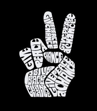 LOS ANGELES POP ART Los Angeles Pop Art Peace Fingers Long Sleeve Girls Word Art T-Shirt