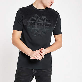 River Island Charcoal embroidered slim fit T-shirt