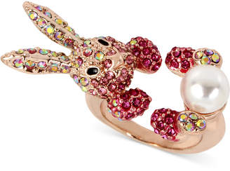 Betsey Johnson Rose Gold-Tone Pink Pavé & Imitation Pearl Bunny Ring