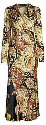 Etro Women's Leaf-Print Hammered Dress