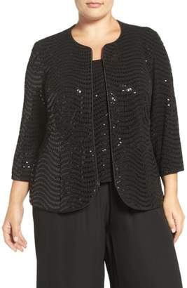 Alex Evenings Sequin Three-Quarter Sleeve Twinset