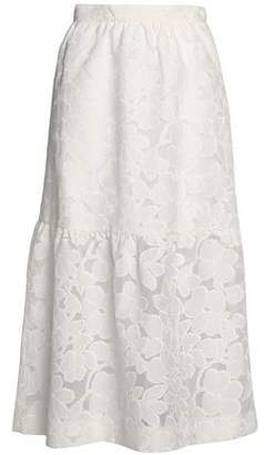 Mother of Pearl Gathered Fil Coupé Cotton-Blend Midi Skirt