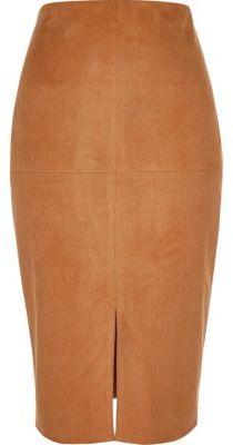 Tan Pencil Skirt - ShopStyle Australia