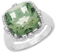 Lord & Taylor Sterling Silver Green Amethyst and Diamond Ring