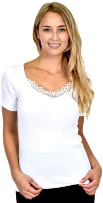 Patricia Lingerie Women's Basic Layering Tricot Short Sleeve T-Shirt with Guipure Applique