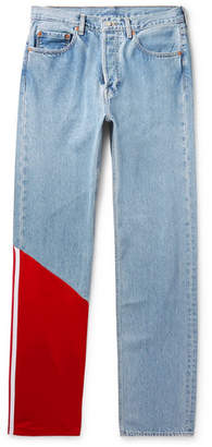 Vetements + Levi's Tech Jersey-panelled Denim Jeans - Light blue