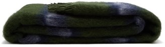 Loewe Fringed Striped Mohair And Wool Blend Blanket - Green Multi