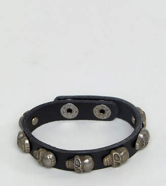 Reclaimed Vintage Inspired Leather Skull Bangle In Black Exclusive To ASOS