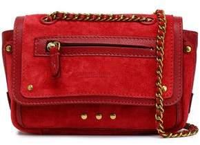 Jerome Dreyfuss Studded Leather-Trimmed Suede Shoulder Bag