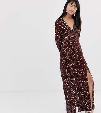 Miss Selfridge Petite maxi dress with blouson sleeve in mixed polka dot