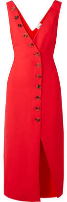 Khaite - Christy Button-detailed Piqué Midi Dress - Red