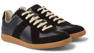 Maison Margiela Replica Leather and Suede Sneakers - Midnight blue
