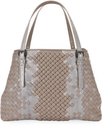 Bottega Veneta Ayers and Leather Stripe Tote Bag