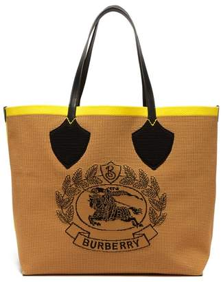Burberry Vintage Check Large Stretch Knit Tote - Womens - Black Yellow