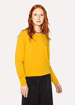 Paul Smith Women's Yellow Cashmere Sweater With Textured Collar