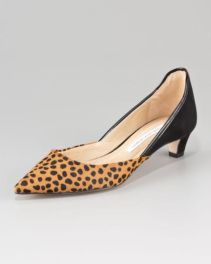 Diane von Furstenberg Alice Leopard-Print d'Orsay Kitten-Heel Pump