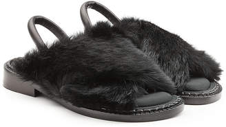 Robert Clergerie Leather Sandals with Rabbit Fur