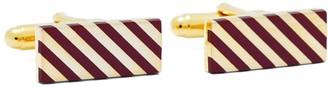 Brooks Brothers Burgundy and Gold Diagonal Stripe Rectangular Cuff Links