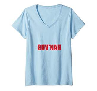 Womens British Guv'nah Joke V-Neck T-Shirt