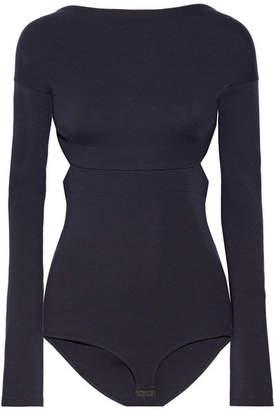 Victoria Beckham - Open-back Wool-jersey Bodysuit - Midnight blue