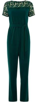 Dorothy Perkins Womens **Green Lace Mix Jumpsuit