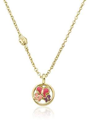 Little Miss Twin Stars Girls' Charming Treats 14k Gold-Plated Disc Accented with -Color Enamel Cut Out Butterflies Chain Pendant Necklace