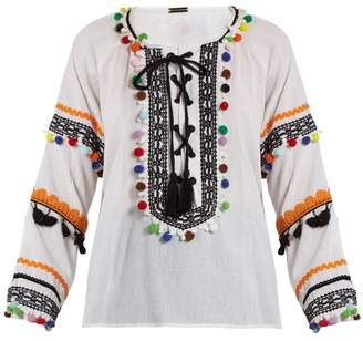 Dodo Bar Or - Yehoray Pompom Embellished Cotton Top - Womens - Multi