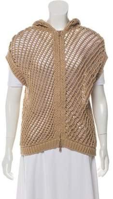 Brunello Cucinelli Open Knit Hooded Vest