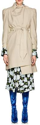 Balenciaga Women's Ruched Cotton Belted Trench Coat