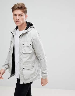 Burton Menswear Multi Pocket Rain Jacket In Grey