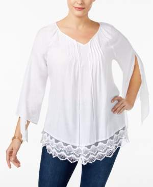 NY Collection Plus Size Lace-Trim Tunic