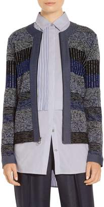 St. John Inlay Jacquard Stripe Knit Jacket